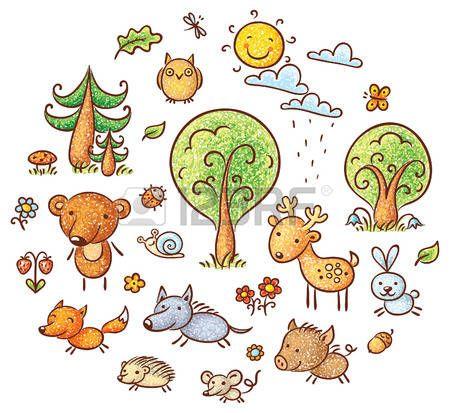 sol y nubes dibujo Conjunto de animales y plantas del bosque de