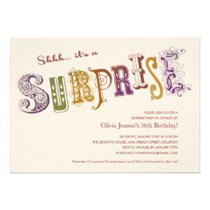 Shhh Surprise party Invitations Surprise Party Invitations