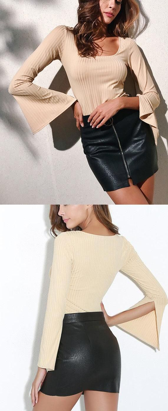 Flare sleeve solid color sexy blouse tops pinterest tops sexy