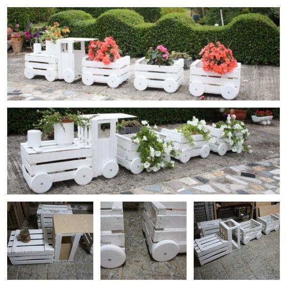 DIY train Planters Out Of vieilles caisses Art Wood Pinterest - jardines navideos
