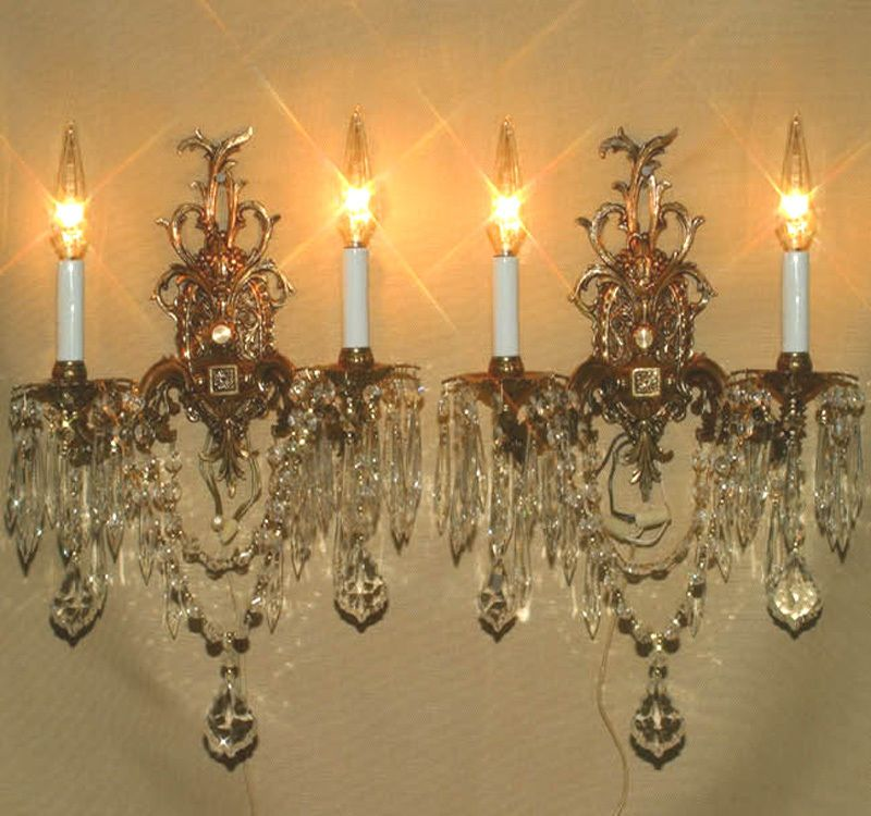 Wall Sconces Chandelier: PAIR Vintage Gilt Bronze Brass Crystal Lamp Sconces ROCOCO
