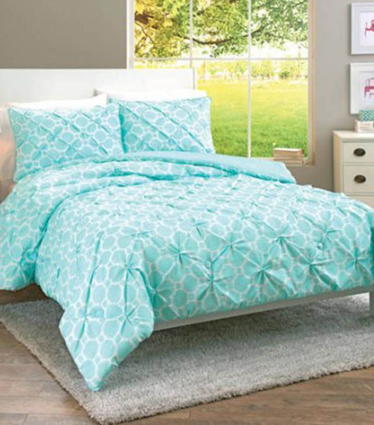 Aqua Looped Trellis Pintuck Bedding Comforter Set From