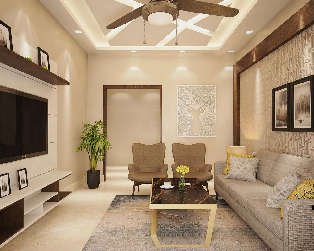 Simple Drawing Room Interior Design With Back Wall Design And