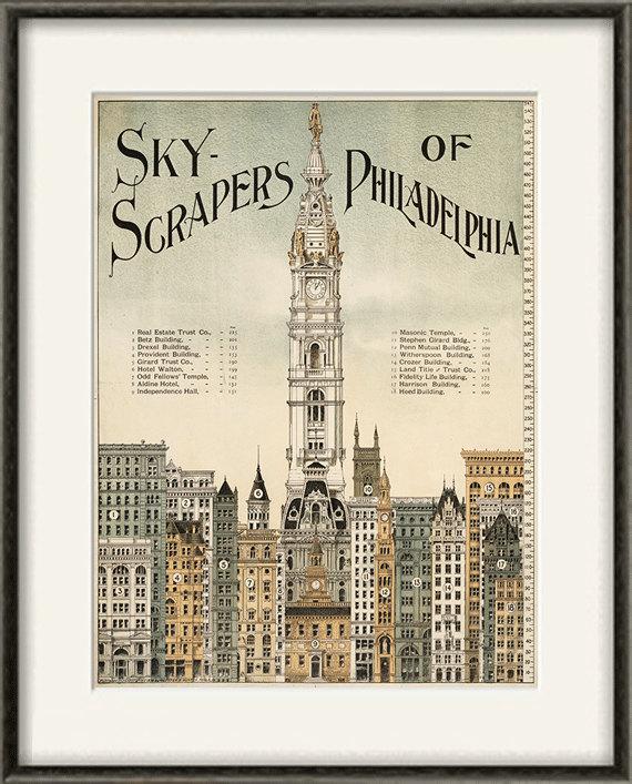 Skyscrapers Philadelphia art print poster old prints Wall poster art ...