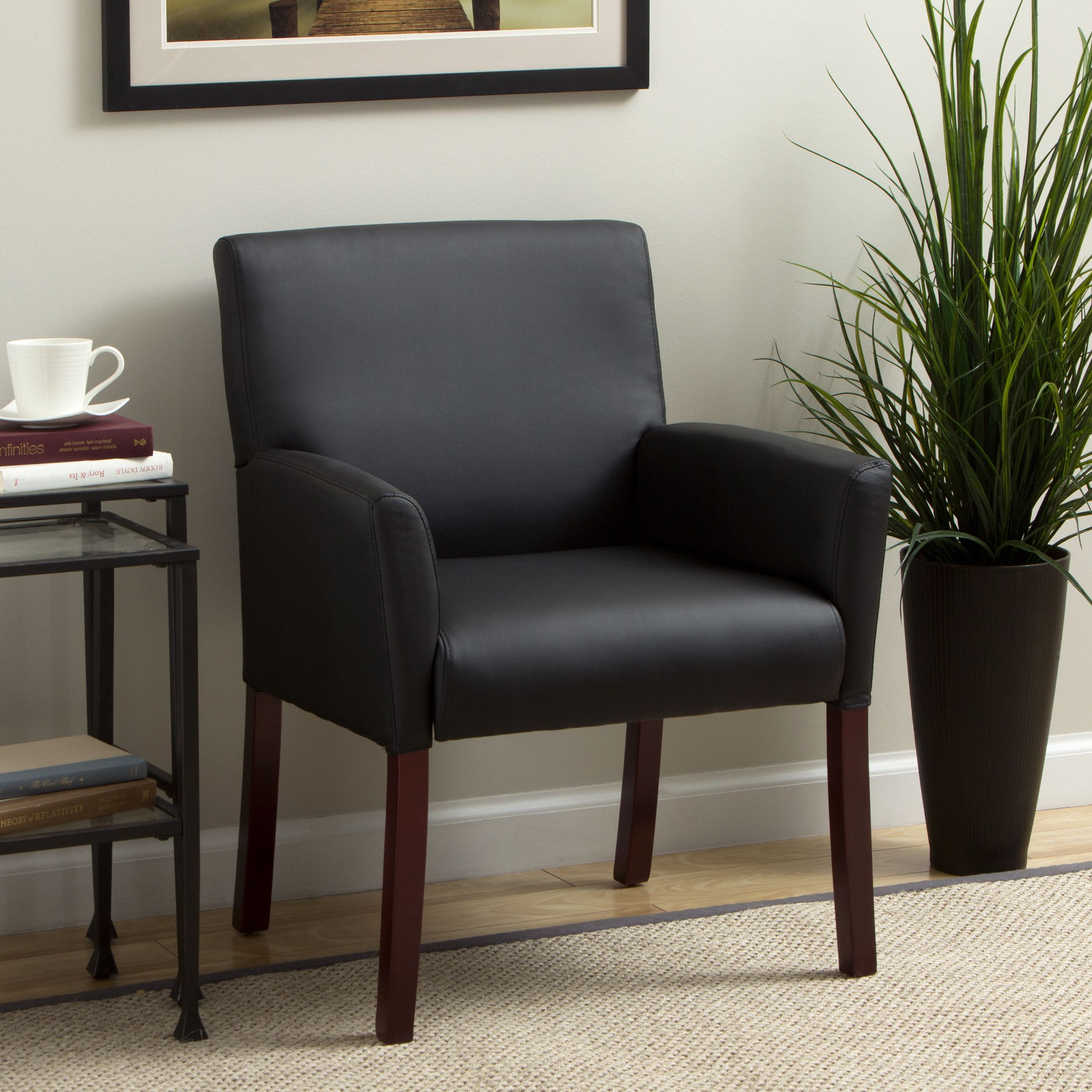 Soft And Durable, This Black Guest Arm Chair From Boss Caressoft Will  Provide Long Lasting Comfort In Your Home Or Office. Molded Polyurethane  Armrests ...