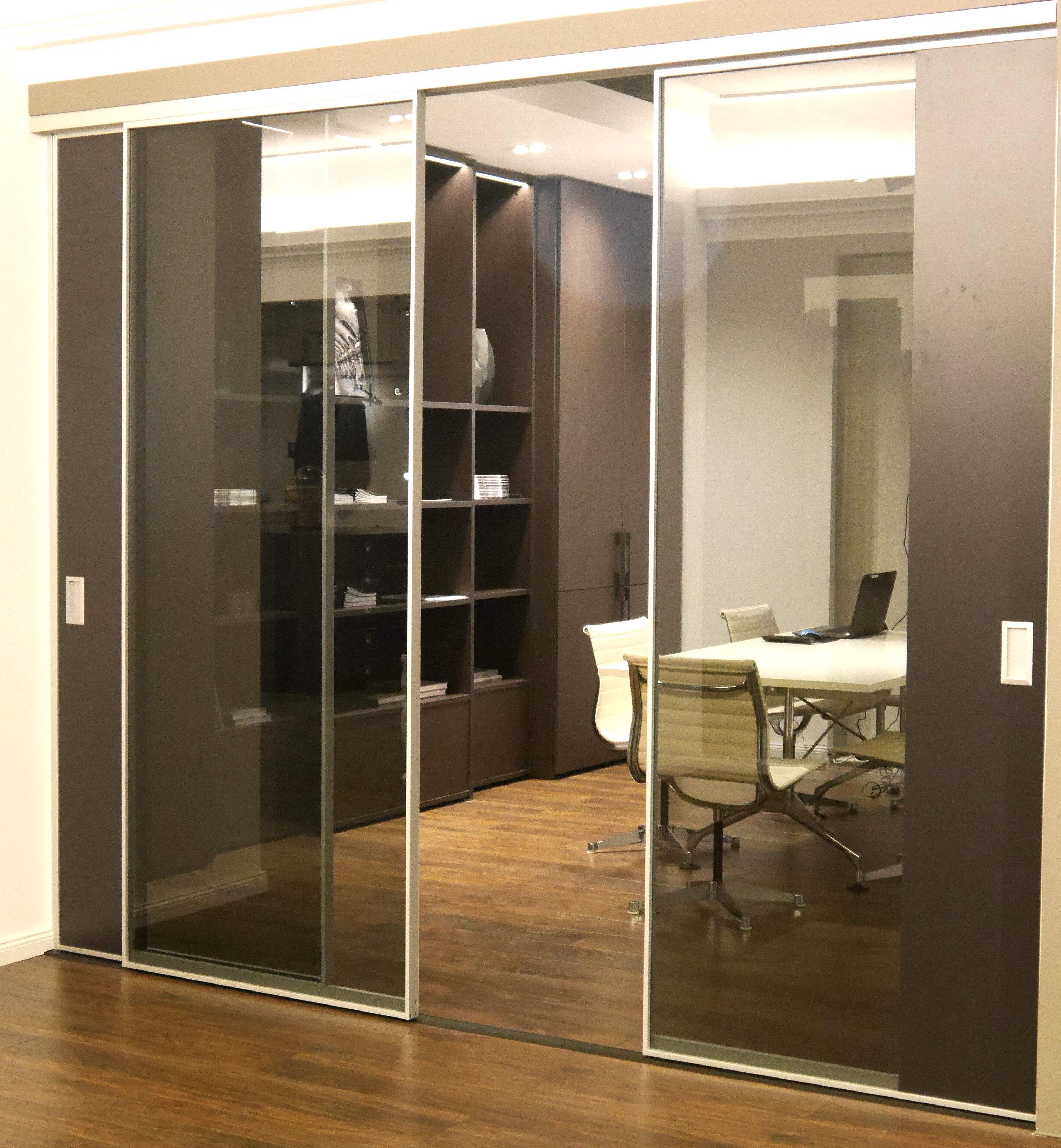 Arbeitszimmer Home Office Buro Mit Schiebetur Schiebetur Glas