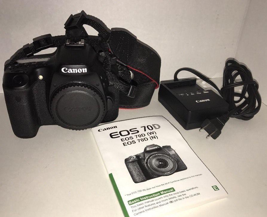 Canon Eos 70d 20 2mp Digital Slr Camera Black Body Only Battery Charger Dslr Canon Digital Slr Camera Eos Canon Eos