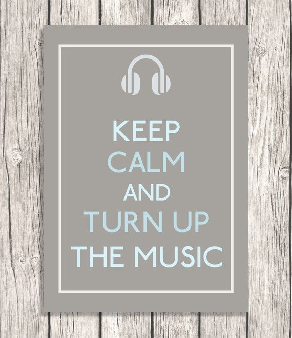 Keep Calm and Turn Up The Music - Nursery Art, Kids Room Decor, Dorm Room, Office Wall Decoration - DIY Printable File - 5x7