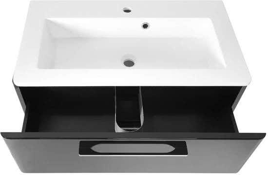 Badkamerkast Zwart Hoogglans : Grete wastafelonderkast met wastafel cm zwart hoogglans