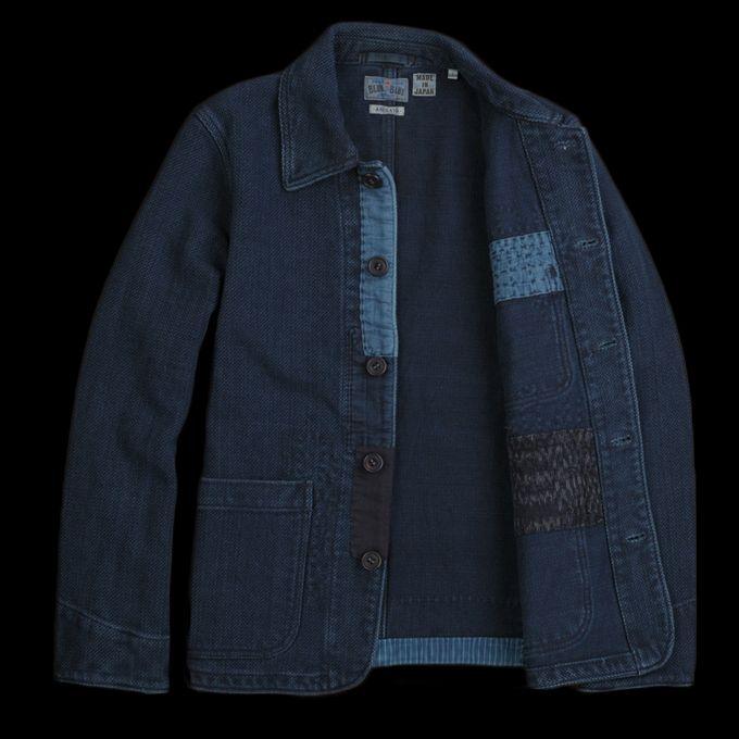 8c66d7f596 Blue Blue Japan - Sashiko Hand Stitched Chore Jacket in Indigo