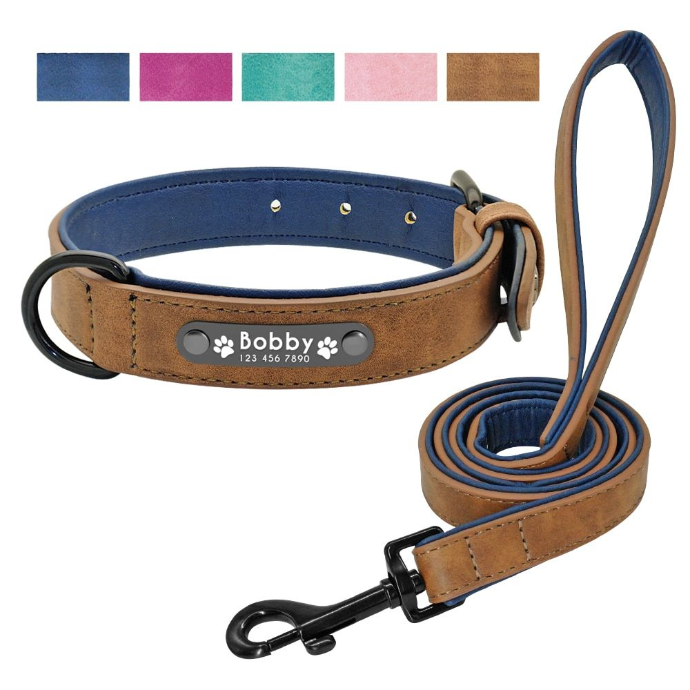 Leather Dog Collar Leash Set Personalized Customized Dogs Collars