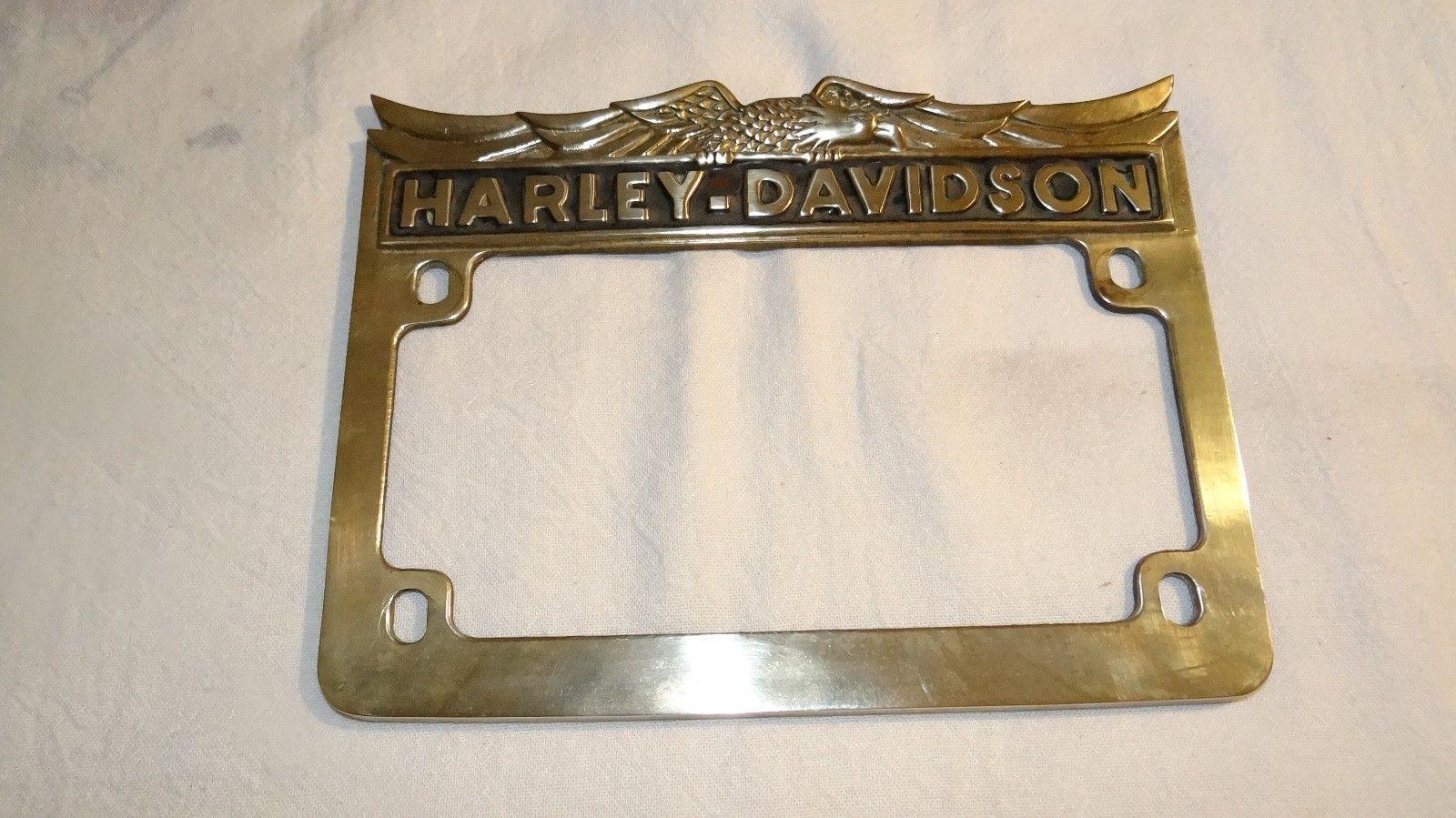 harley Vtg Harley Davidson Brass License Plate Frame Eagle and Words ...