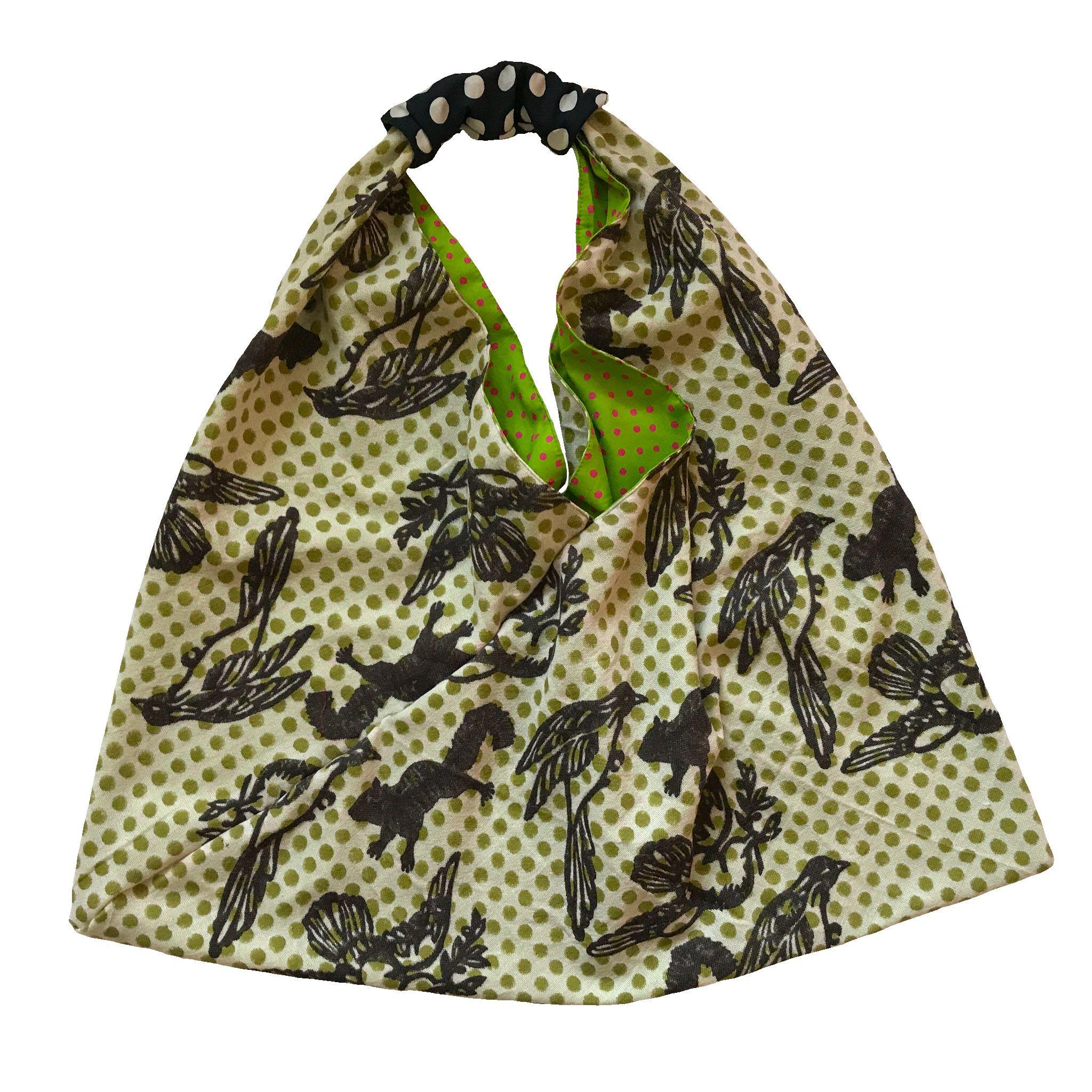 Block Print Origami Schultertasche Shopper Einkaufstasche Ein