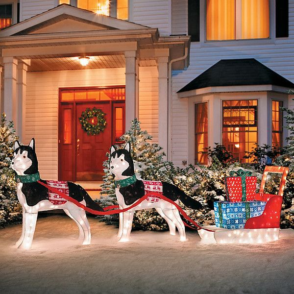 improvements huskies with sleigh lighted outdoor christmas decoration 180 liked on polyvore featuring - Outdoor Lighted Dog Christmas Decorations