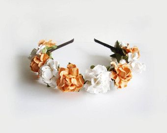 Peach Hearts Floral Headband