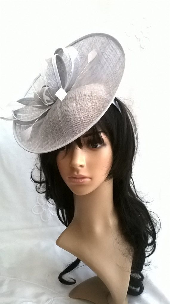 3061906cf64 Silver Feather Fascinator..Stunning Sinamay Fascinator on a Headband ...