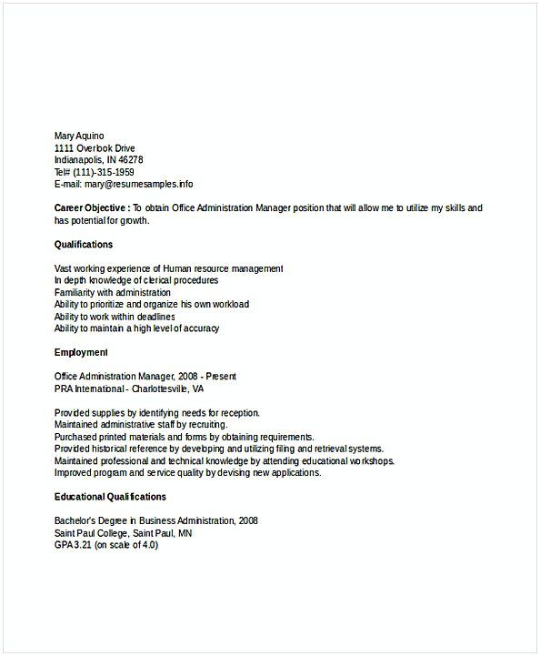 Materials Manager Resume Office Administration Manager Resume  Resume For Manager Position .