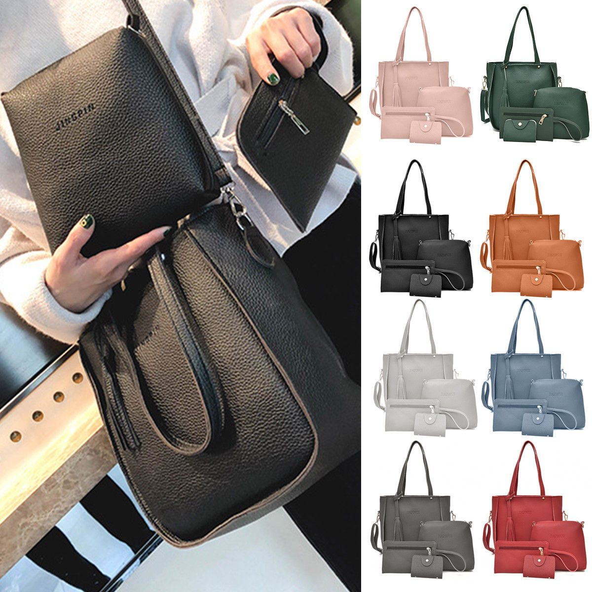 4pcs Women Lady Leather Shoulder Bag Handbag Messenger Crossbody Tote Purse Bags