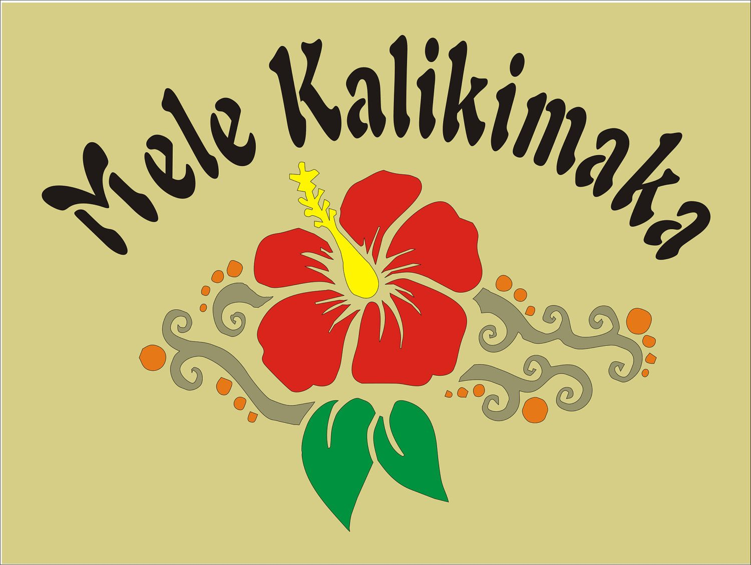 Mele Kalikimaka with hibiscus and leaves, Hawaii Merry Christmas ...