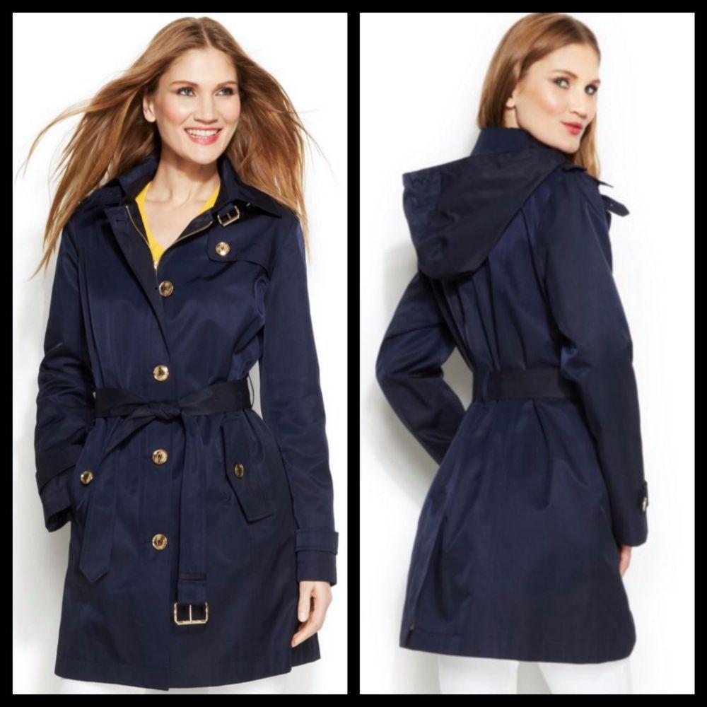 New Michael Kors Hooded Trench Coat Navy Blue Size Medium Hooded Trench Coat Coat Trench Coat [ 1000 x 1000 Pixel ]