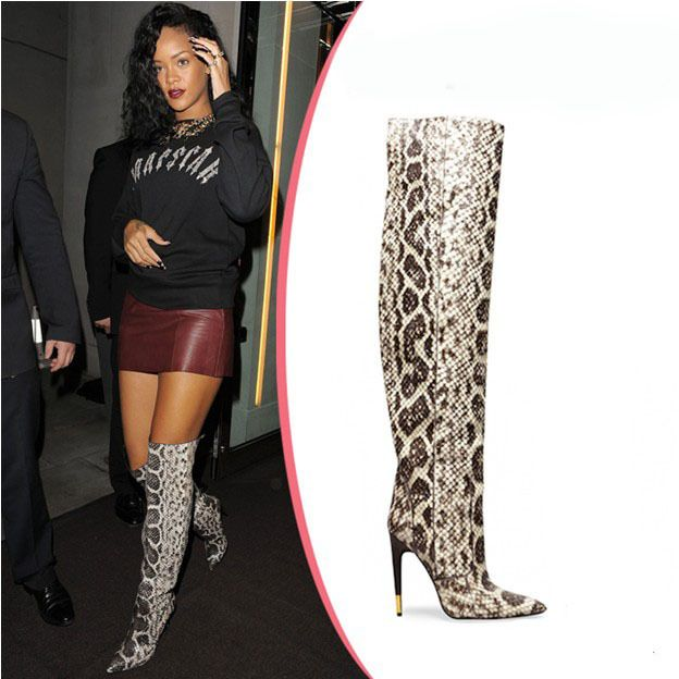 new 2014 top fashion sexy snakeskin stylish women boots  thigh high boots women shoes high heels genuine leather