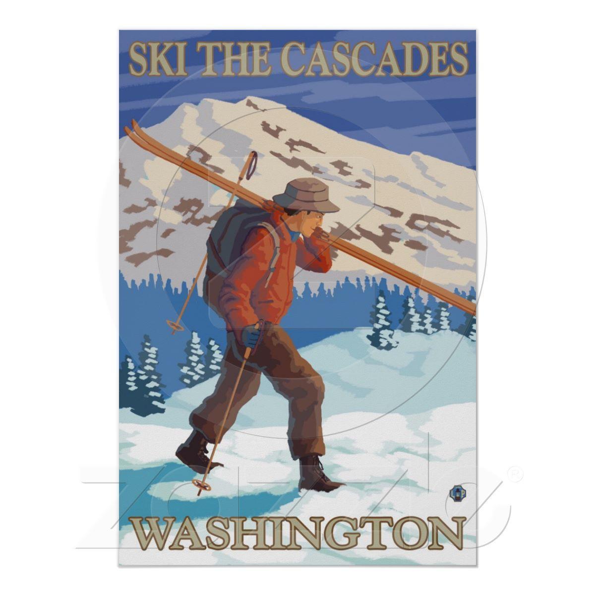 Ski The Cascades Washington State Travel Poster Zazzle Com Snow Skiing Gallery Print Lantern Press