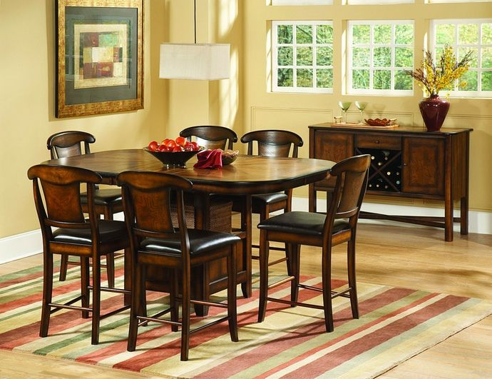 7 pc Westwood collection warm burnished oak wood finish counter height dining table set with vinyl padded seats