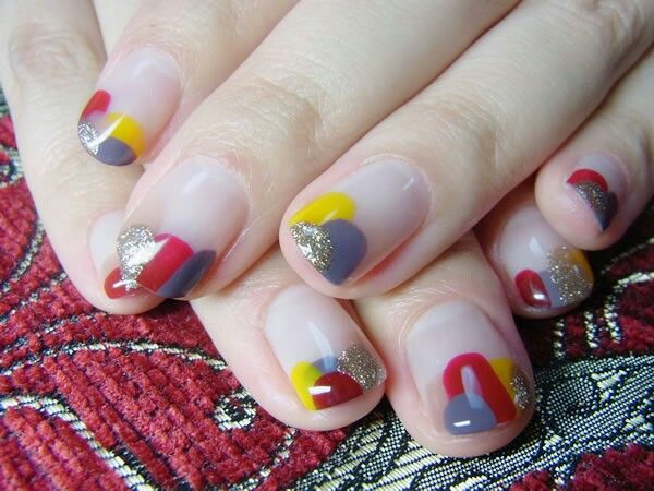 Watercolor Nail Art Gold Yellow Red And Blue Polish