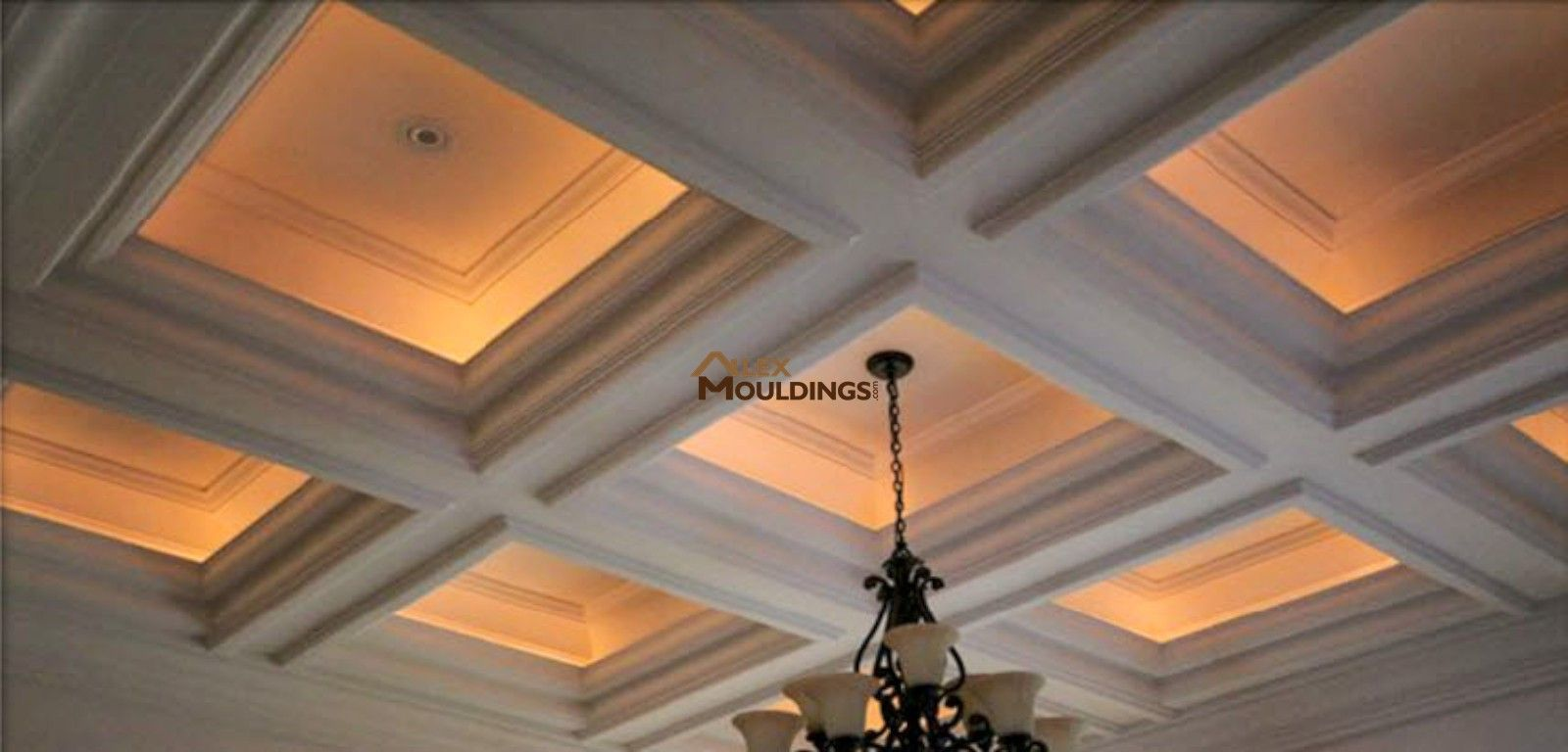 Cove Lighting Inside Waffle Ceiling Boxes Trim Pinterest - Cornice crown moulding toronto wainscoting coffered ceiling