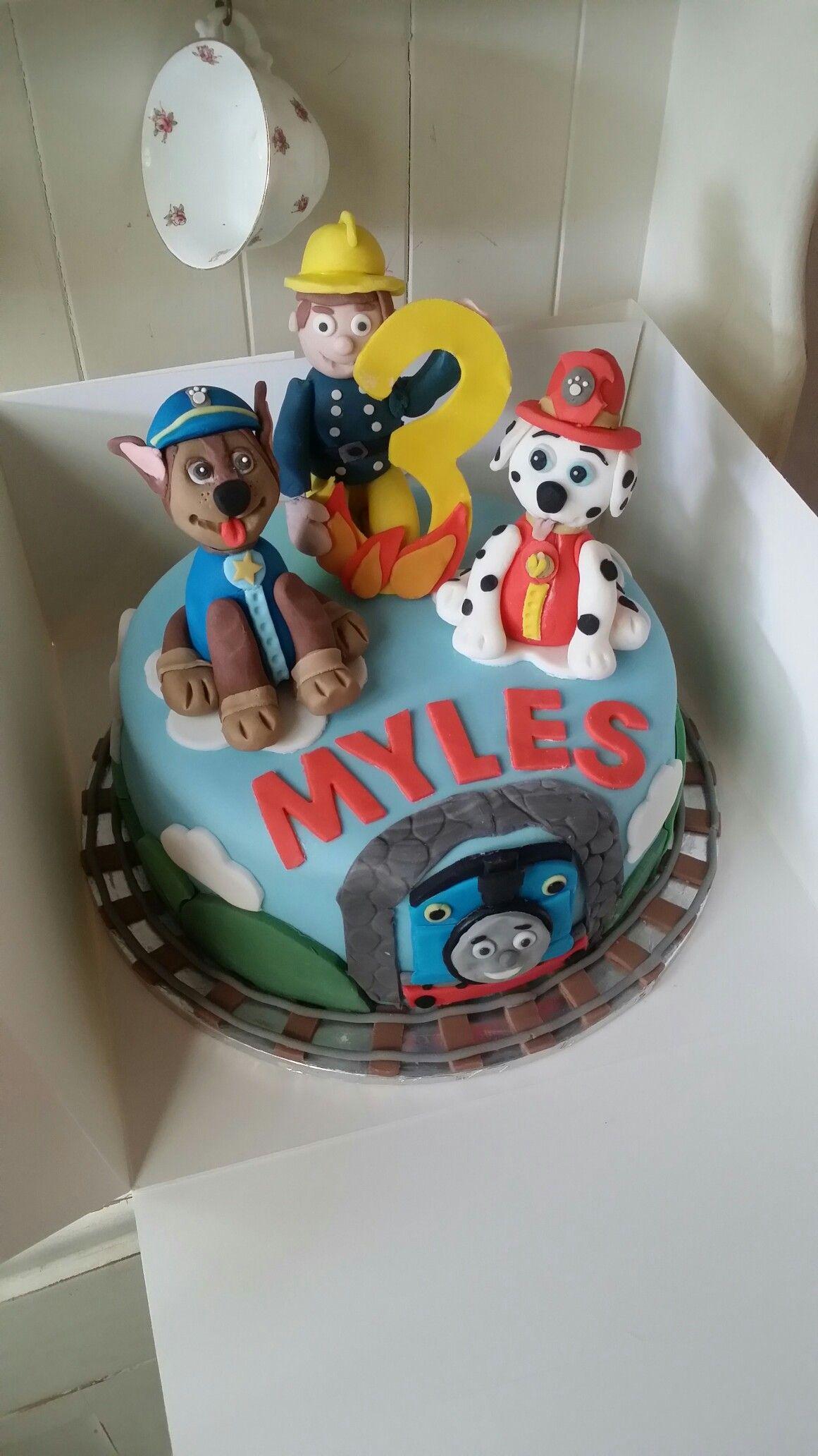 Kids Birthday Cake With Paw Patrol Fireman Sam And Thomas Ryan 4