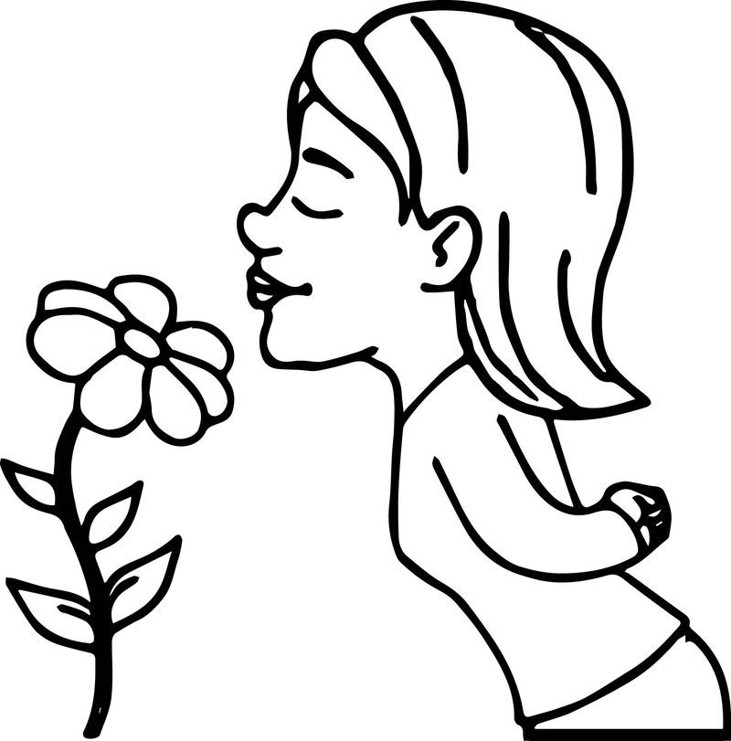Girl Smelling Flower Coloring Page