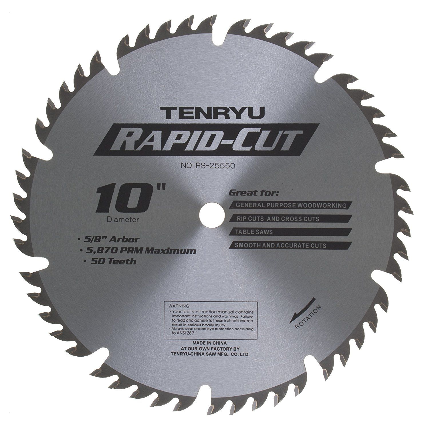 Tenryu Rs 25550 10 50 Tooth 5 8 Arbor All Purpose Wood Blade You Can Get Additional Details At The Image Li Table Saw Blades Circular Saw Blades Saw Blade