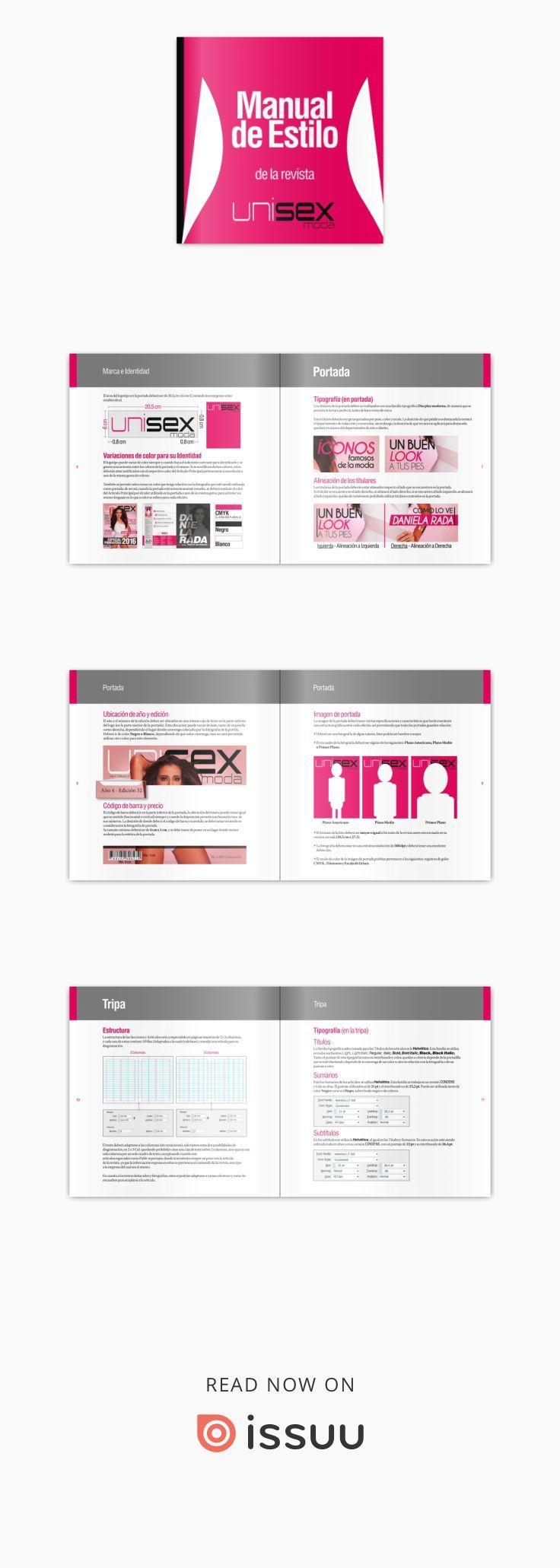 Manual de estilo de la revista Unisex Moda estudios y