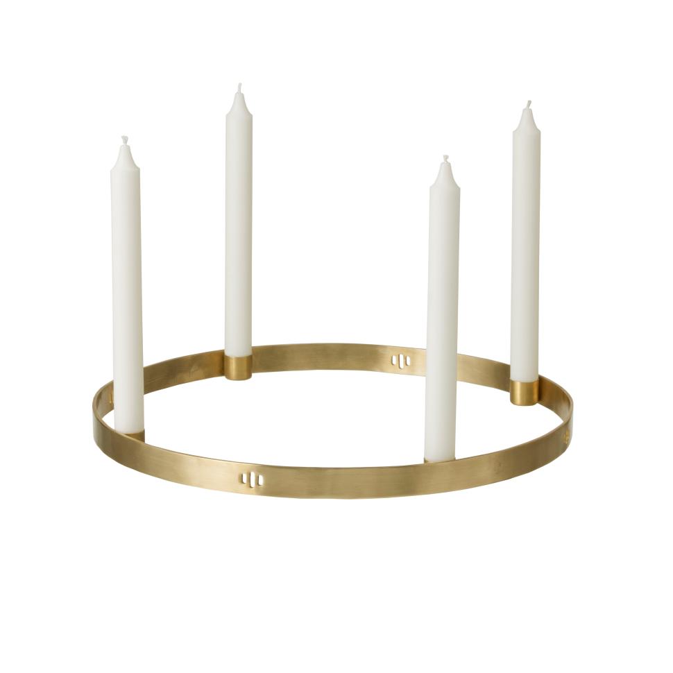 Circle brass candleholder-large