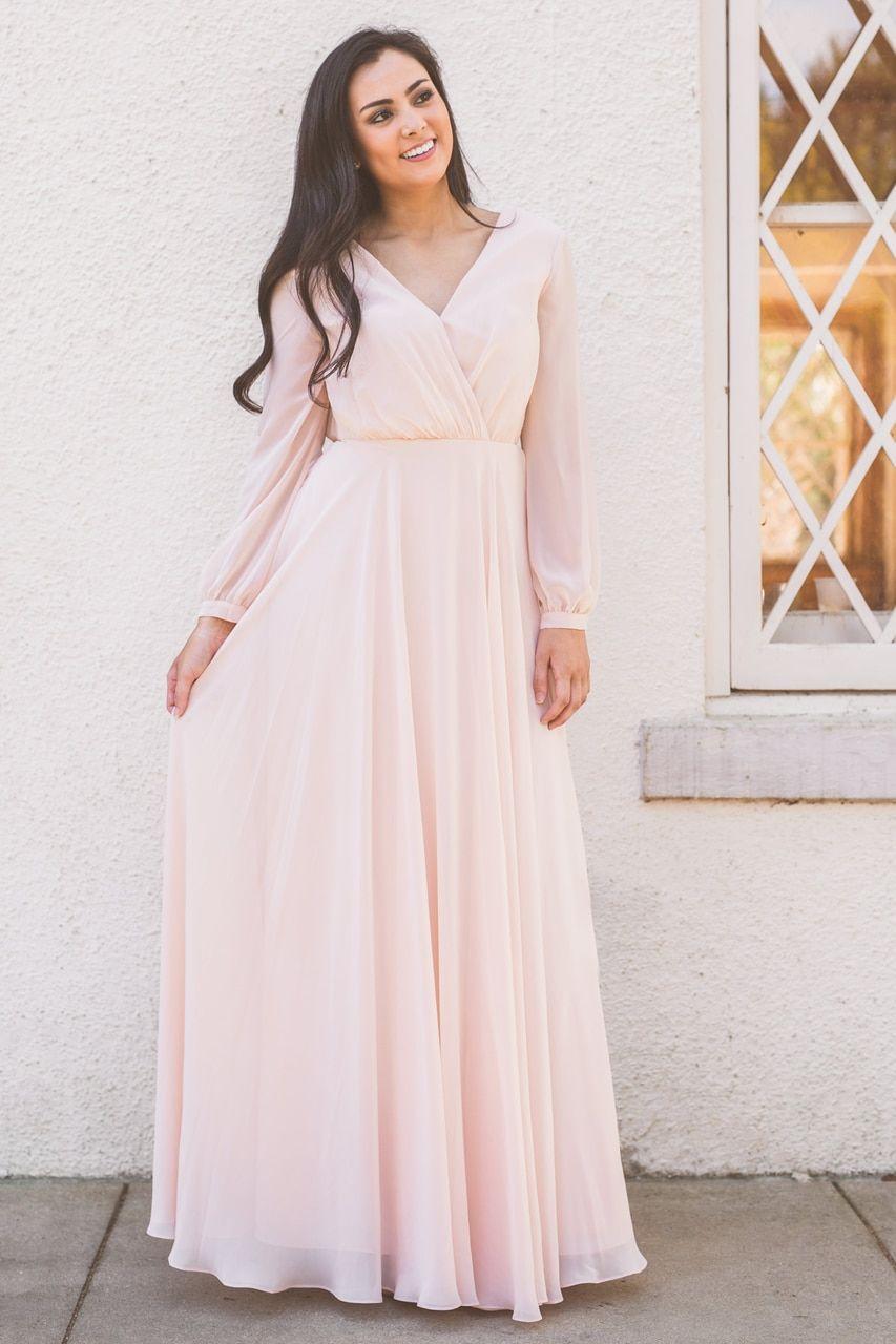 Juliet Chiffon Long Sleeve Dress Long Sleeve Chiffon Dress Long Sleeve Bridesmaid Dress Bridesmaid Dresses Plus Size