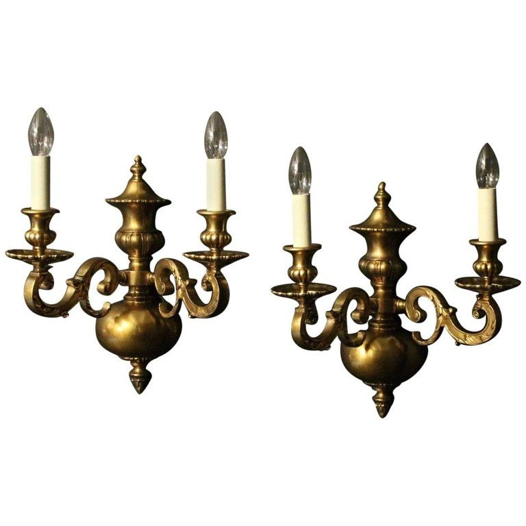 Pair Of 1stdibs Wall Lights Sconces 19th Century Antique English Dutch Colonial Bronze Wall Lights Bronze