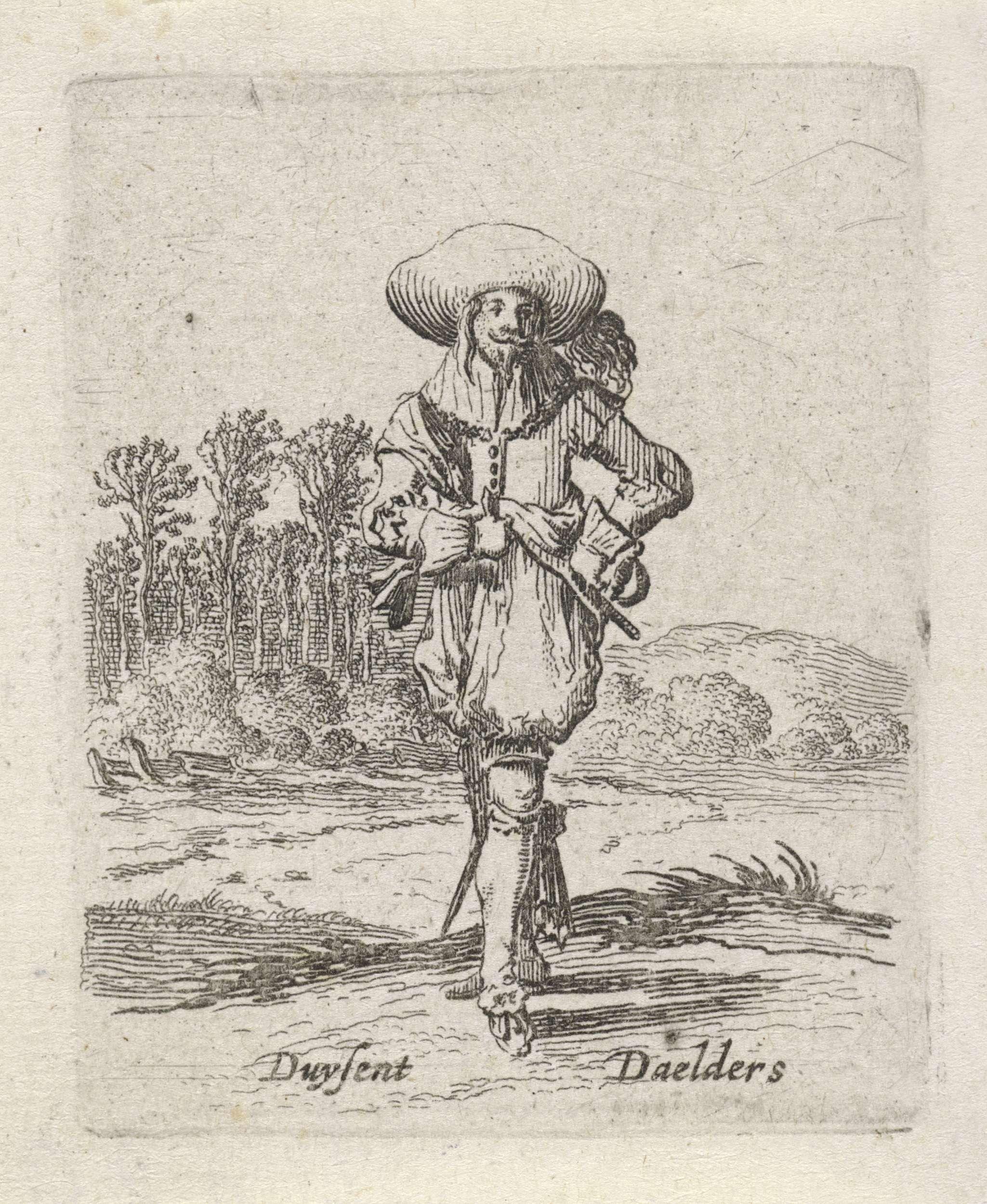 Gillis van Scheyndel (I) | Man met de handen in de zij, Gillis van Scheyndel (I), Salomon Savery, 1638 | Een man met een gevederde hoed op het hoofd en de handen in de zij. Op de achtergrond enkele bomen. De prent maakt deel uit van een serie van 32 prenten met genretaferelen.