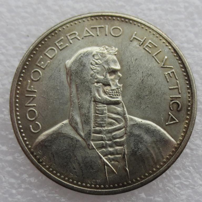 [Visit to Buy] Hobo 1948 Switzerland (Confederation) Silver 5 Francs (5 Franken) skull zombie skeleton Copy Coin diameter:31.45mm #Advertisement