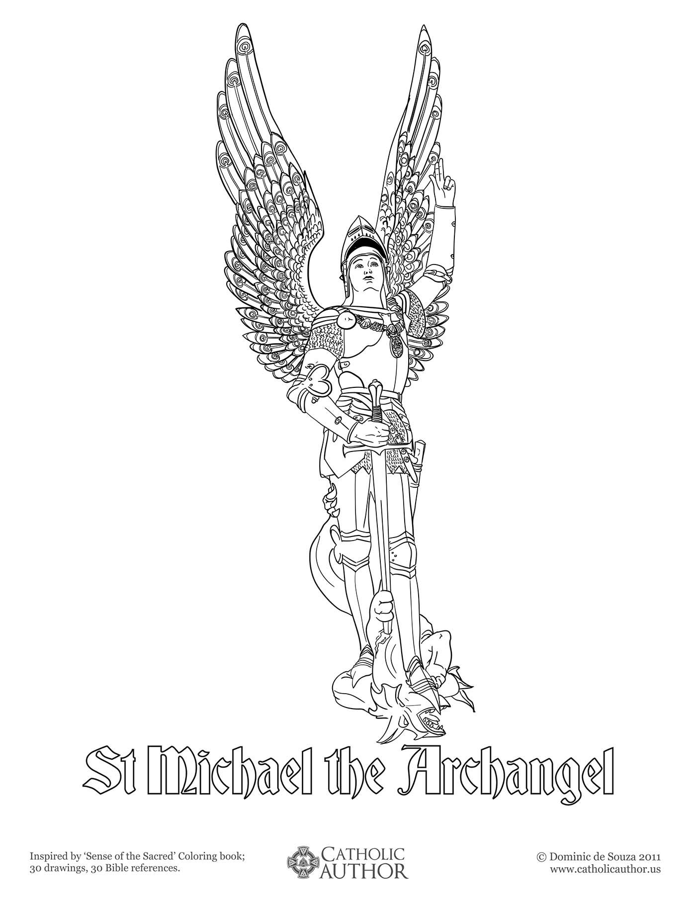 st michael the archangel free hand drawn catholic coloring pictures