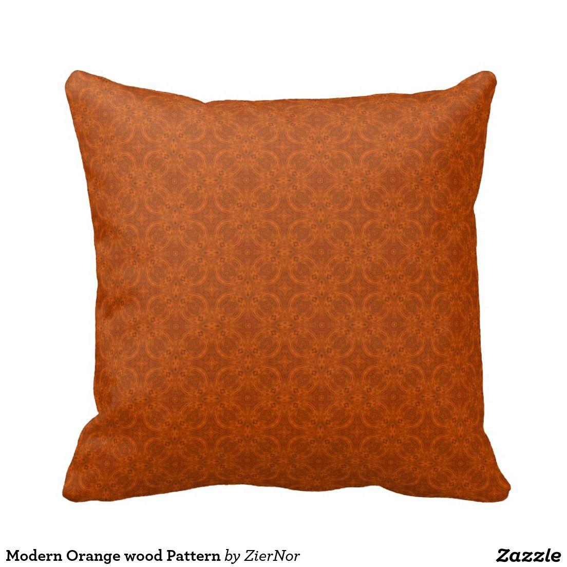 Modern Orange wood Pattern Pillows