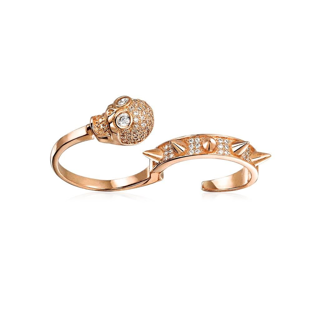 Bling Jewelry Rose Gold Plated CZ Spikes and Skull Two Finger Ring