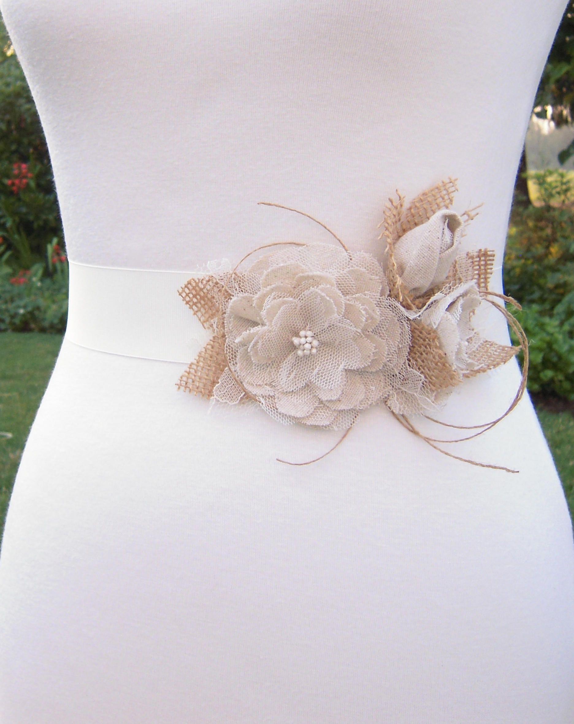 50th wedding anniversary dresses  Rustic Wedding Dress Sash Belt Muslin Roses with Burlap and  Rustic