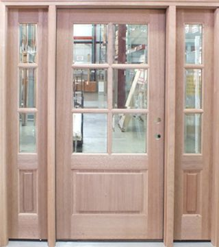 Wood Entry Door With Two Sidelights Unfinished Wood