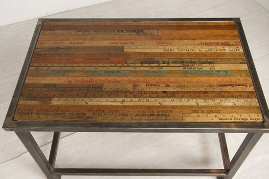 Industrial Steel Frame Coffee Table With Inlaid Yardstick Top