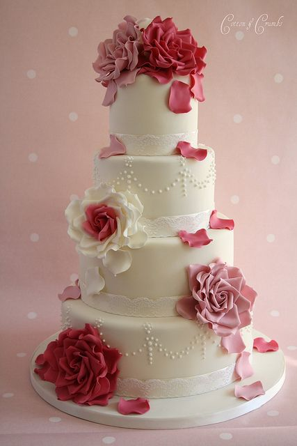 Gorgeous Cakes from Cotton & Crumbs - Two-tone pink & cream roses and rose petal loveliness