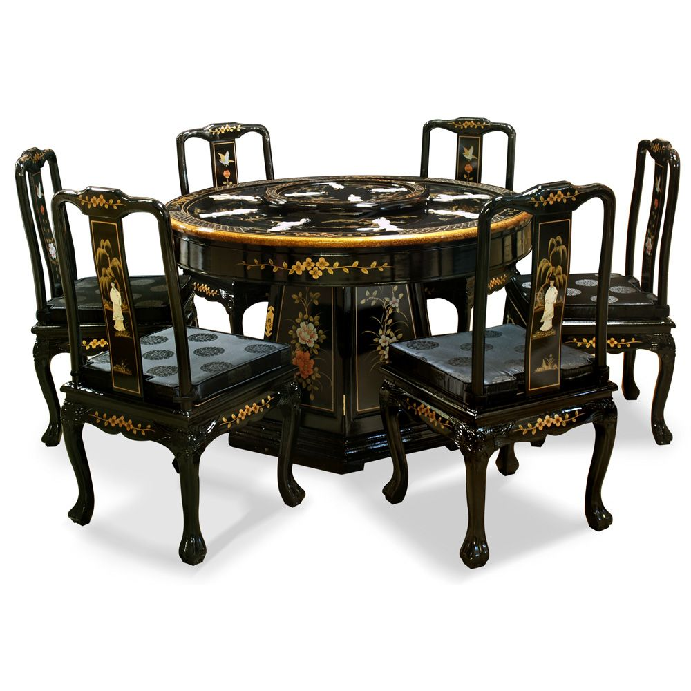 48in Black Lacquer Pearl Figure Motif Round Dining Table With 6 Chairs 中式