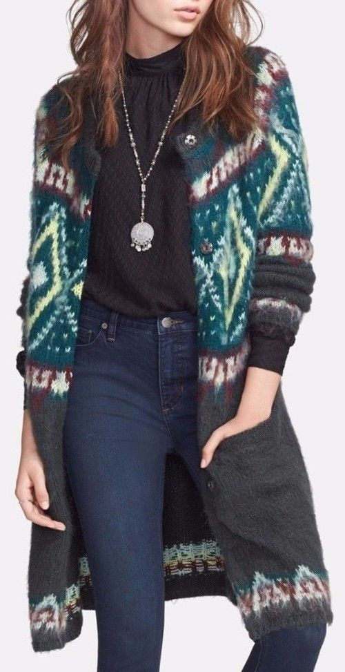 Details about Free People Frosted Fair Isle Cardigan Sweater Knit ...
