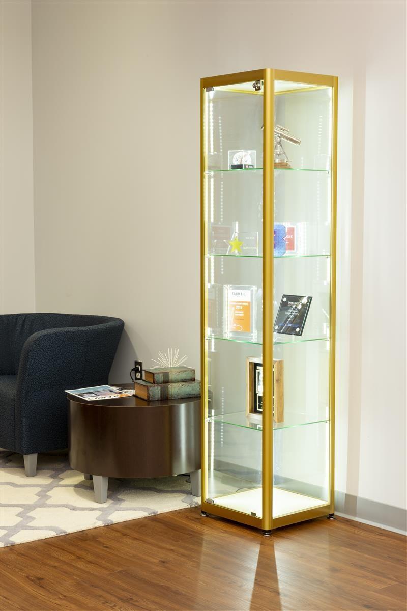 15 5 Glass Display Case Adjustable Shelves Locking Ships Unassembled Gold Glass Cabinets Display Glass Cabinet Doors Floating Glass Shelves