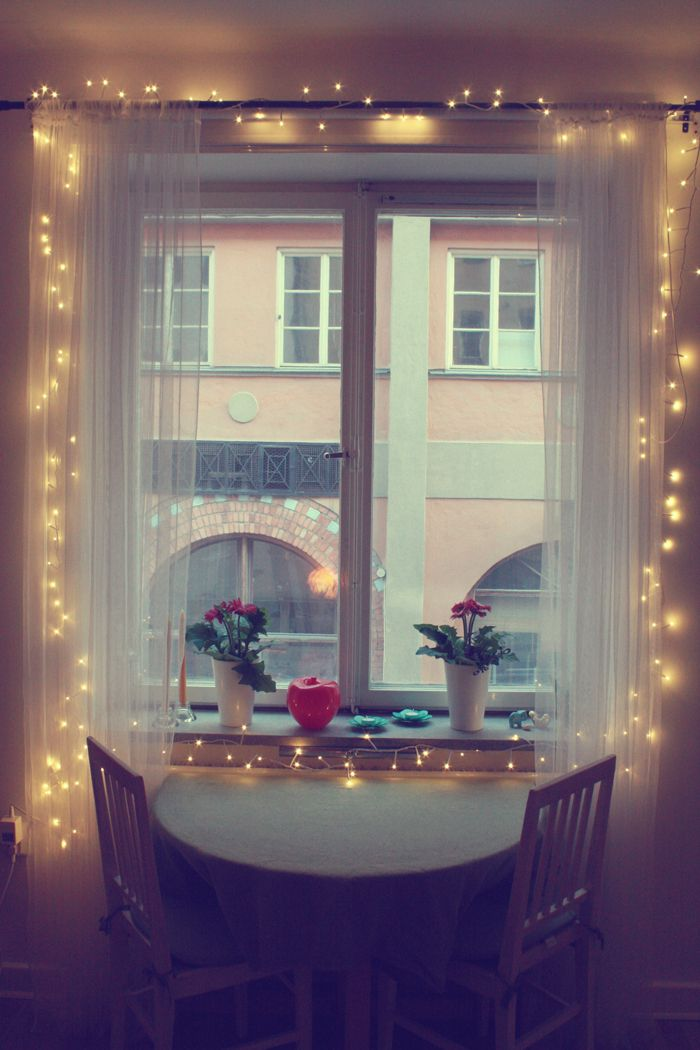 Sheer White Curtains With Christmas Lights Love This Idea For A