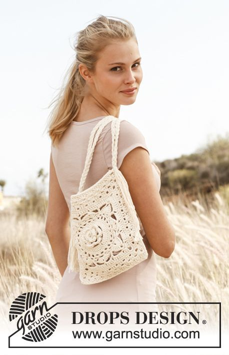 """Jude / DROPS 146-13 - Crochet DROPS bag with plaited shoulder strap in """"Paris"""". - Free pattern by DROPS Design"""